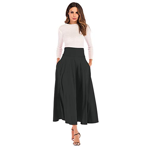 (CHIDY A-Line Skirt for Women High Waist Pleated Long Skirt Front Slit Belted Maxi Skirt Office Wear Business Attire Black)