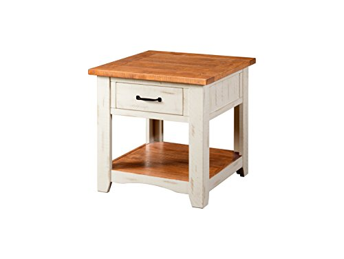 Rustic Pine Table - Martin Svensson Home 890136 Rustic End Table, Antique White and Honey Tobacco