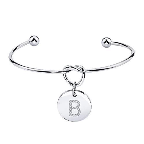 Dec.bells Jewellery Initial Bracelet Knot Bracelet for Bridesmaids Jewelry Gift Letter Alphabet Bangle