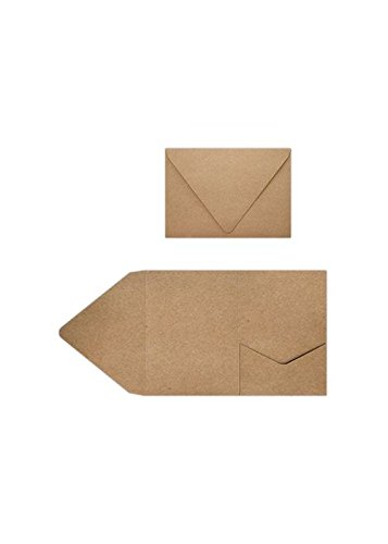 A7 Pocket Invitations (5 x 7) - 18pt. Grocery Bag (10 Qty) | Perfect for Invitation Suites, Weddings, Announcements, Sending Cards, Elegant Events | A7PKTGB-10