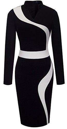 HOMEYEE Womens Vintage Sleeve Bodycon