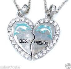 BEST FRIEND Dolphin Heart Silver Tone 2 Pendants 2 Necklaces BFF Friendship by Funtime Accessories