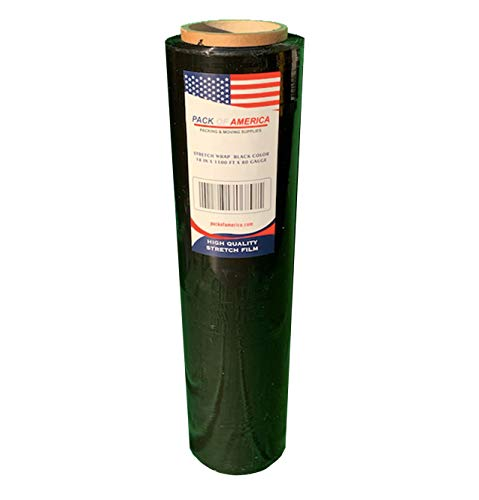 "Pack of America Stretch Film, Hand/Shrink Wrap, Heavy Duty, Moving Supply, Packing Boxes, Ideal for Furniture and Pallet Wrapping (1 Pack, Black (1200ft, 3"" Core, 80 Gauge)) from Pack of America"