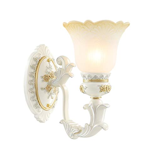 Gold White Wall Light Vintage Wall Lamp Home Decor European Retro Wall Art Scroll Scone,Milky White Glass Lampshade Decorative Lighting Fixture for Indoor Bedroom Hallway Living Room Hotel, E27