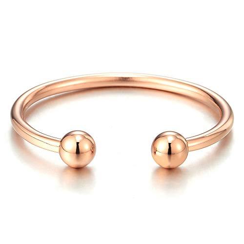Elastic Bangle Steel Women Stainless Bracelet Ball Adjustable Gold