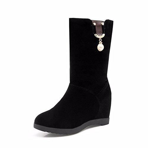 KAFEI Onorevoli Boot in autunno e inverno 34-43 Songpa con a tacco alto tempo libero privo di pelucchi e testa tonda nera, 40 per 2-4 giorni non consente
