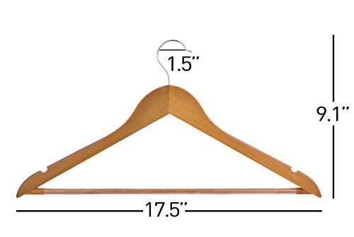 Light Cherry Everyday Wood Hangers with Non-Slip Bar and Notches, Super Sturdy and Durable Wood, 24 pack by Neaties (Image #2)