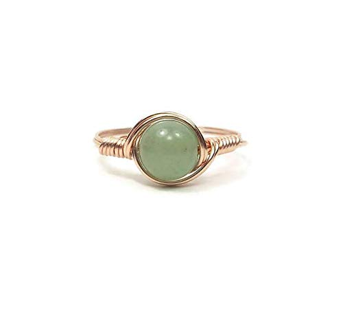 Green Aventurine 14k Rose Gold Fill Wire Wrapped Ring