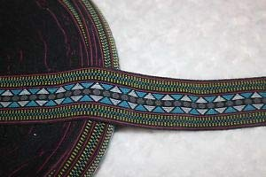 1 Yard Black Aqua Aztec Print Boxer Knit Waistband Sewing Boxer Knit Elastic 2