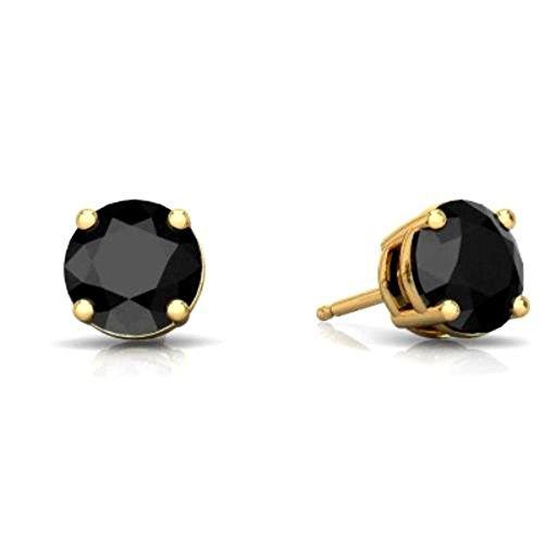 Elizabeth Onyx (14Kt Yellow Gold 4mm Genuine Black Onyx Round Stud Earrings)