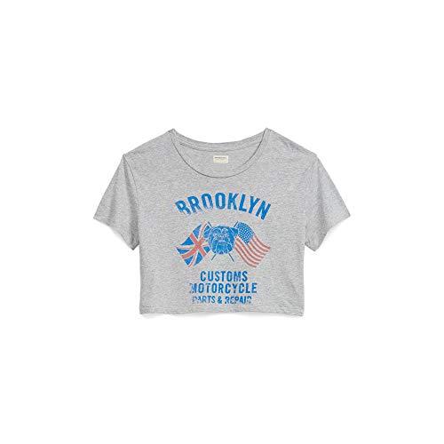 Denim & Supply Ralph Lauren Women's Cropped Graphic-Print Cotton T-Shirt Vintage Grey Heather Small