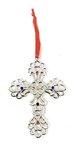 Lenox Silver Plated Scroll Jeweled Gem Christmas Holiday Ornament (Cross)