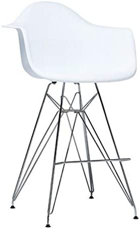 Heavenly Collection HC-BUCKETSET-06 Eames Style Eiffel Stool in Chrome 27 SH with Bucket White Seat