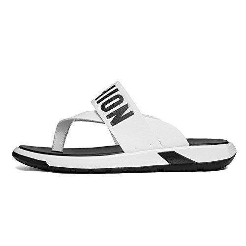 Playa Sandalias de la de Suaves Chancletas Hombres White Correa de Planas Genuino Cuero los de Zapatos Ligeros la Antideslizantes Zapatos de Las TFftqf8