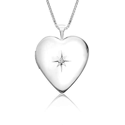 Honolulu Jewelry Company Sterling Silver Star Heart Locket Necklace Pendant Diamond 18