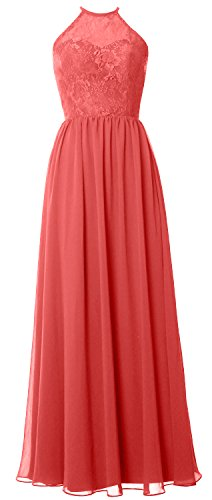 MACloth Women Halter Long Bridesmaid Dress 2017 Lace Wedding Party Formal Gown Watermelon