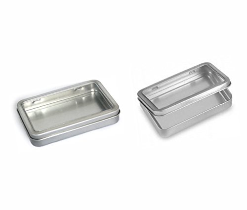 Cafe Cubano® Rectangular Empty Hinged Tin Box Containers With Choice of Clear or Solid Hinged Top. Use For First Aid Kit, Survival Kits, Storage, Herbs, Pills, Crafts and More. (24, Clear Top: 5.5'' X 3.7'' X .9'') by Cafe Cubano®