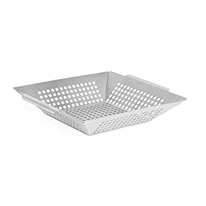 Internet's Best Stainless Steel Grill Wok   Grill Basket Skillet Smoker Cookware   Diced Meat, Vegetables, Barbeque Fish Pan