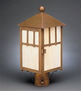Northeast Lantern 1733-dac-med-wht Lodge Post Mount Light