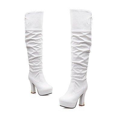 RTRY Zapatos De Mujer Polipiel Moda Invierno Botas Botas Chunky Talón Puntera Redonda Sobre La Rodilla Botas Lace-Up Para Vestimenta Casual Negro Blanco Amarillo US9 / EU40 / UK7 / CN41