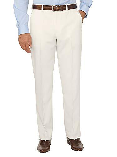 Paul Fredrick Men's Comfort-Waist Microfiber Herringbone Flat Front Pant Ivory 50
