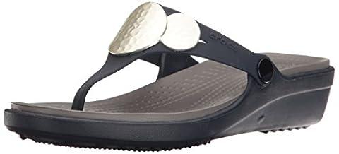 crocs Women's Sanrah Embellished Flip Wedge Sandal, Navy, 7 M US - Blue Croc