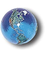 Blue Earth Marble with Natural Earth Continents, Recycled Glass, Quantity 5, Half-Inch Diameter