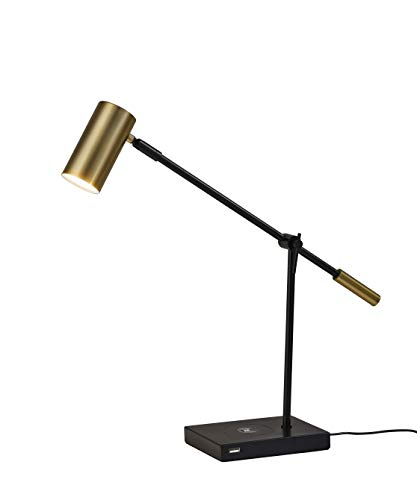 Adesso 4217-01 Collette LED Desk Lamp Wireless Charging, 7W LED, 5W QI, USB Port, Indoor Lighting Lamps
