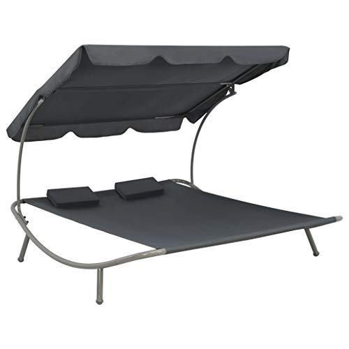 Festnight 2-Person Outdoor Sunbed with Canopy and Pillow Steel Frame Daybed Chaise Lounger Conversation Set for Patio Garden Backyard Poolside Balcony 78.7