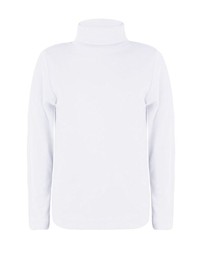Kids Turtleneck Long Sleeve Plain Basic Top Girls Boys Jersey Polo Tops 2-14 ()