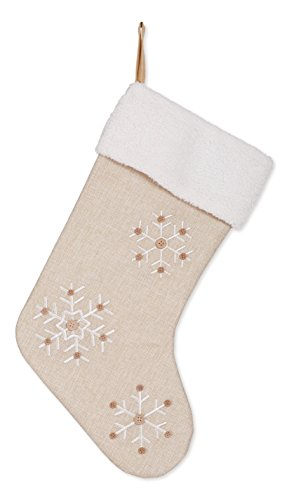 Snowflake 18.5 inch Burlap Christmas Stocking with Sherpa Cuff Decoration by Transpac Imports, Inc.