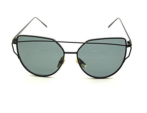Mode Féminine Cat Eye Sunglasses Classique Marque Designer Twin-Poutres Lunettes de Soleil Lady Coating Mirror Flat Panel Objectif Lunettes (Noir Cadre / Gris Lense) 1Y0Jmc2Su