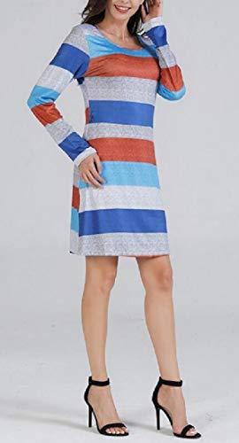Crewneck Midi Striped ainr Long Women 1 Sleeve Pencil Dresses awWqB5z
