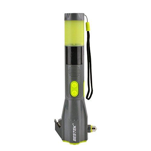 BESTEK 7 in 1 NotfallHammer,LED Taschenlampe,Gurtsschneider,Kompass,Notbeleuchtung,Ladegeräte für USB Device