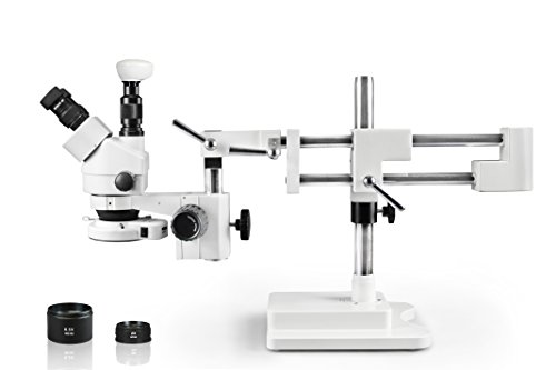 Vision Scientific VS-5FZ-IFR07-5N Trinocular Zoom Stereo Microscope,10x WF Eyepiece,3.5x—90x Magnification, 0.5x & 2x Aux Lens, Double Arm Boom Stand, 144-LED Ring Light, 5.0MP Digital Eyepiece Camera by Vision Scientific