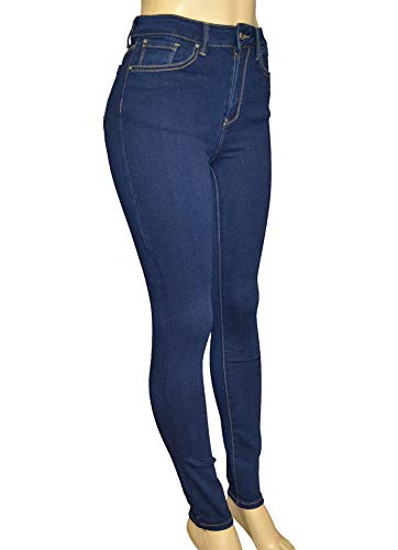 LnLClothing Junior's High Rise Skinny Solid Color Pants, Denim3126, 5 by LnLClothing (Image #2)