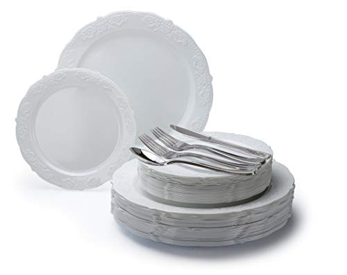 '' OCCASIONS'' 360 PCS / 60 GUEST Wedding Disposable Plastic Plate and Silverware Combo Set (Portofino White) by OCCASIONS FINEST PLASTIC TABLEWARE
