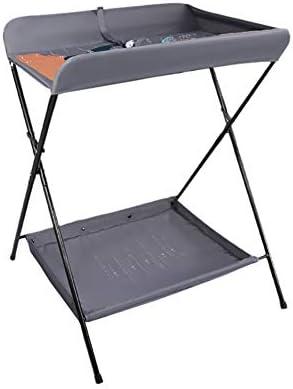 おむつ交換台 灰色の赤ん坊の変更の場所、収納付きの余分な背の高いおむつテーブル、0-3歳のための折り畳み式のクロスレッグスタイル