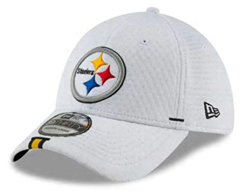 (New Era 2019 NFL Pittsburgh Steelers Training Camp Hat Cap Flex 39Thirty (L/XL) White)