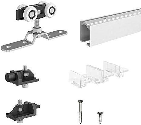 Herraje para puerta corredera SlidUp 170, carril de 200 cm, 1 puerta hasta 120 kg, para puertas de paso y de madera: Amazon.es: Bricolaje y herramientas