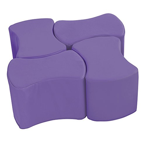 Foam Stool Set - ECR4Kids SoftZone Butterfly Stool Modular Seating Set for Kids, Purple(4-Piece)