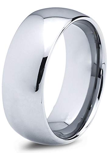 Charming Jewelers Tungsten Wedding Band Ring 8mm Men Women Comfort Fit Grey Dome Polished Size 12.5