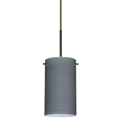 4404tn Led - Besa Lighting 1BT-4404TN-LED-BR 1X6W GU24 Stilo 7 LED Pendant with Titan Glass, Bronze Finish