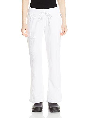 Cherokee Women's Petite Infinity Low-Rise Straight Leg Drawstring Pant, White, (Petite Drawstring)