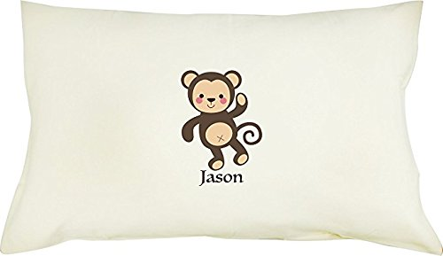 TotMart Personalized Boy's Girl's 100% Cotton Pillowcase with Pillow Insert Standard 19 X 12.5 Toddler Gift, Ultra Soft, Pack with Gift Box (Monkey)