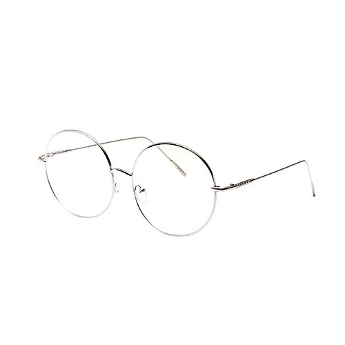Fashion Unisex Classic Metal Frame Mirror Rounded Glasses Silver