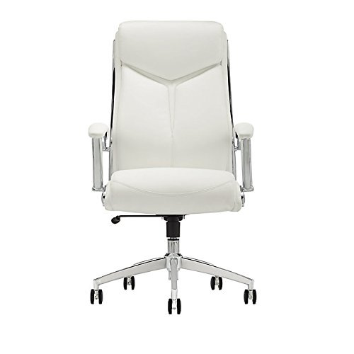 Realspace Verismo Bonded Leather High Back Chair White