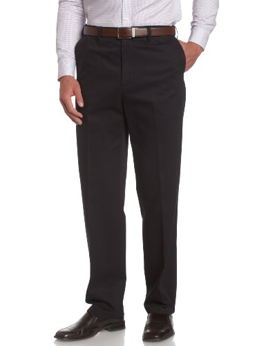 Cotton Twill Flat Front Pants (Savane Men's Flat Front Wrinkle Free Twill Pant,Navy,42x29)