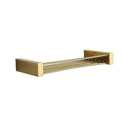 TEDAMIR Wall Mounted Soap Dish Holder Chrome-Plated Brass Soap Basket Simple Bathroom Shelf Partition Shower Storage Rack Organizer Golden ()