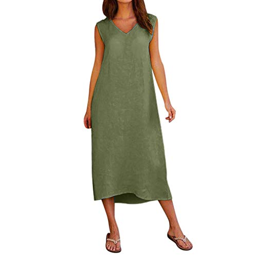- Opinionated Women's Plus Size Sleeveless V-Neck Loose Cotton and Linen Casual Skirt Linen Top Shirt Dress